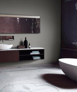 Agape Spoon vrijstaand bad en opbouw wastafel in cristalplant