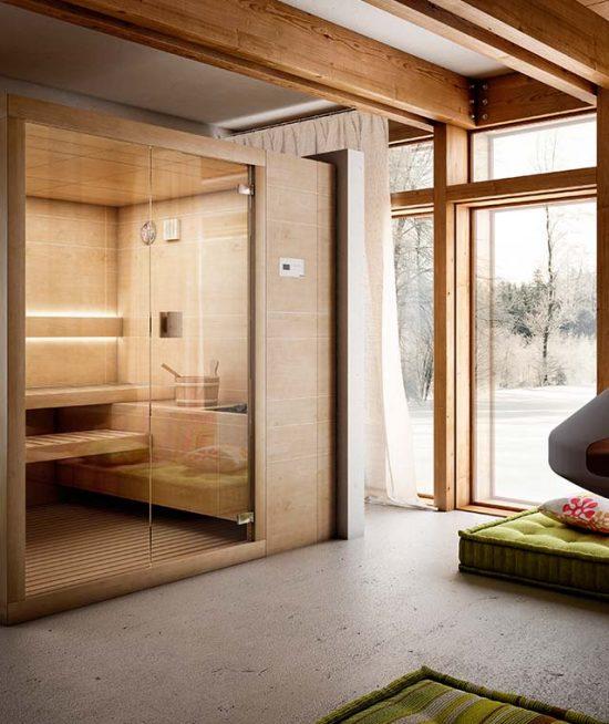 Strakke design sauna met voorzijde voorzien van glas