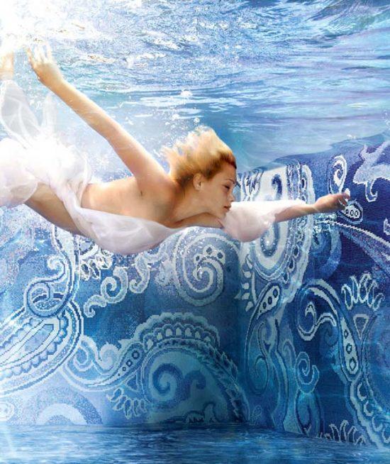 Glas mozaïek voor zwembad of badkamer - Blauw patroon