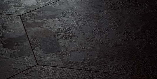 Keramische mat zwarte vloer en wandtegel - Mutina Dechirer decor
