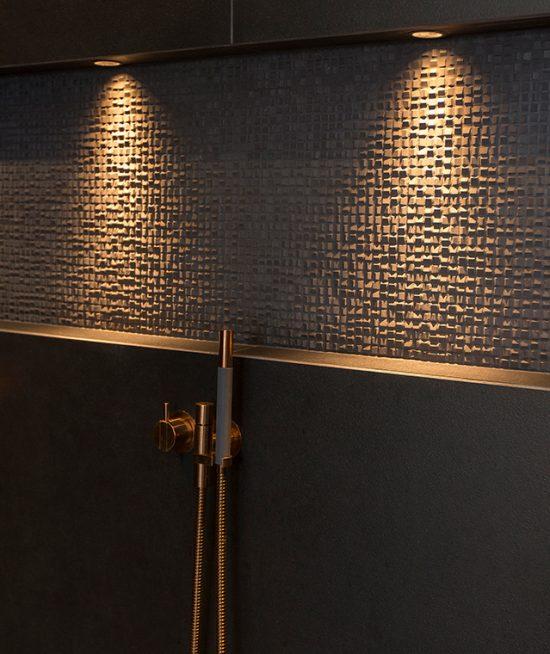 Luxe badkamers geborsteld koper, <Br> white &#038; wood