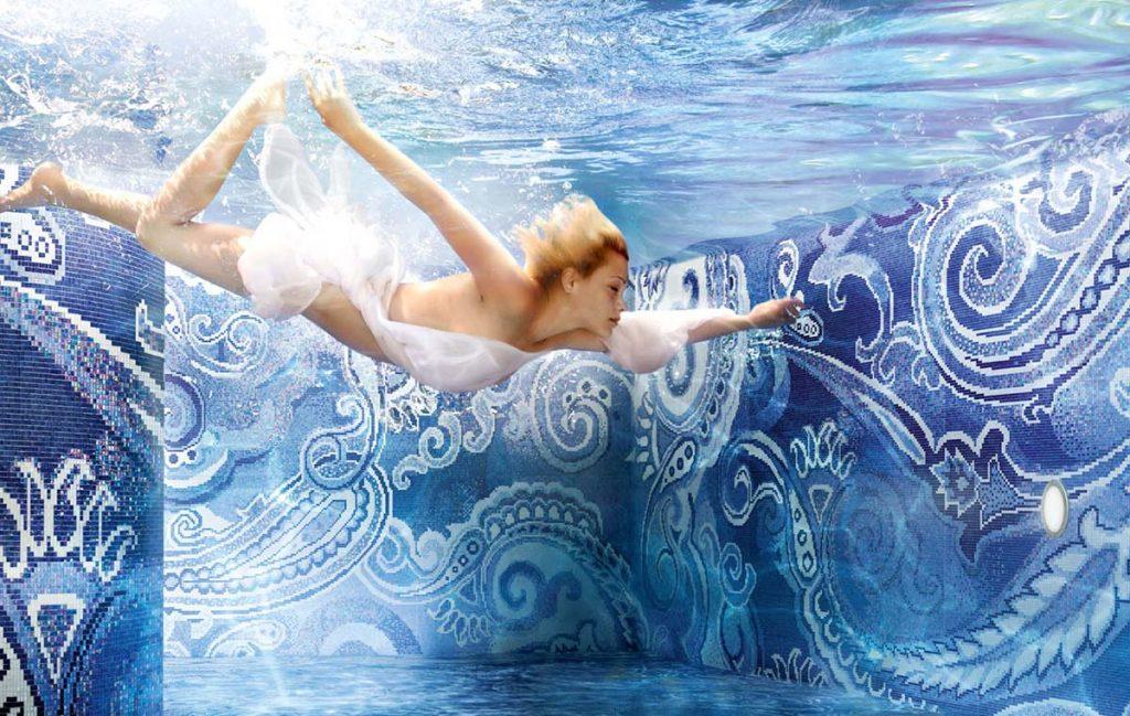 Glasmozaïek voor zwembad of badkamer - blauw patroon