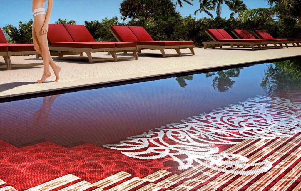 Glasmozaïek voor zwembad - leverbaar in verschillende patronen en kleuren