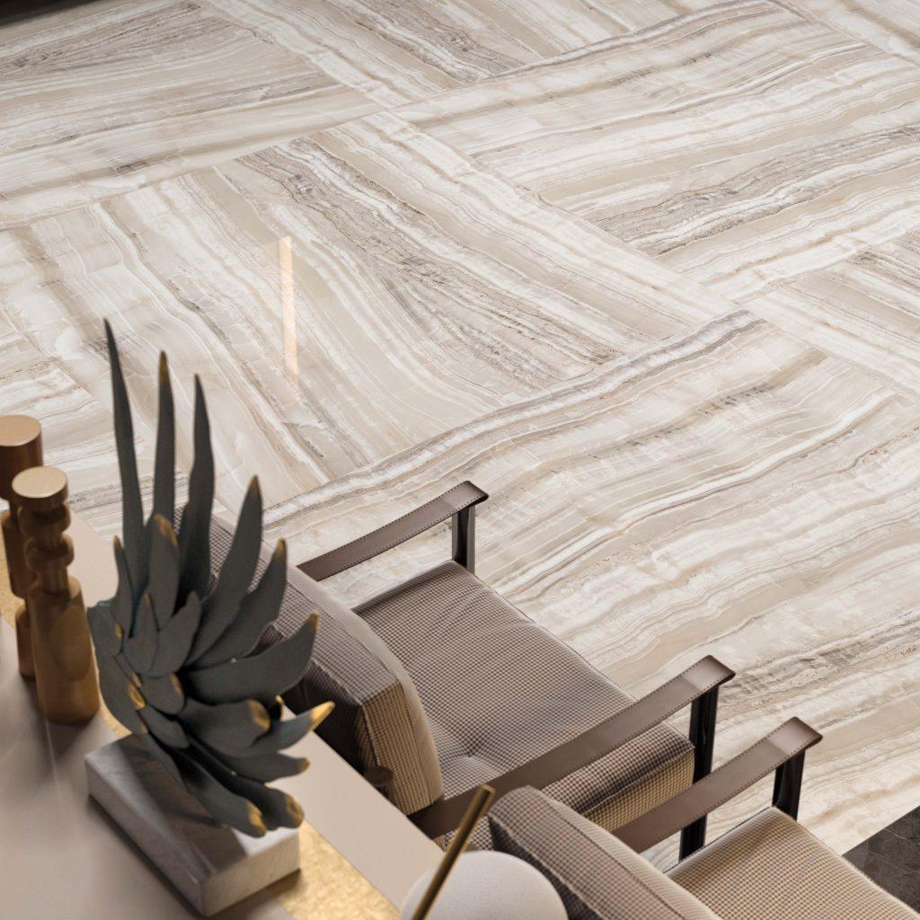Luxe vloertegel met natuursteen look - 160x160cm
