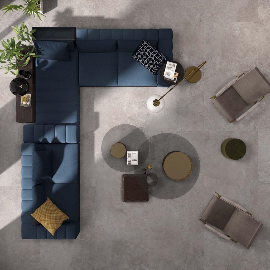 Licht grijze grootformaat matte keramiek tegel - 120x120cm