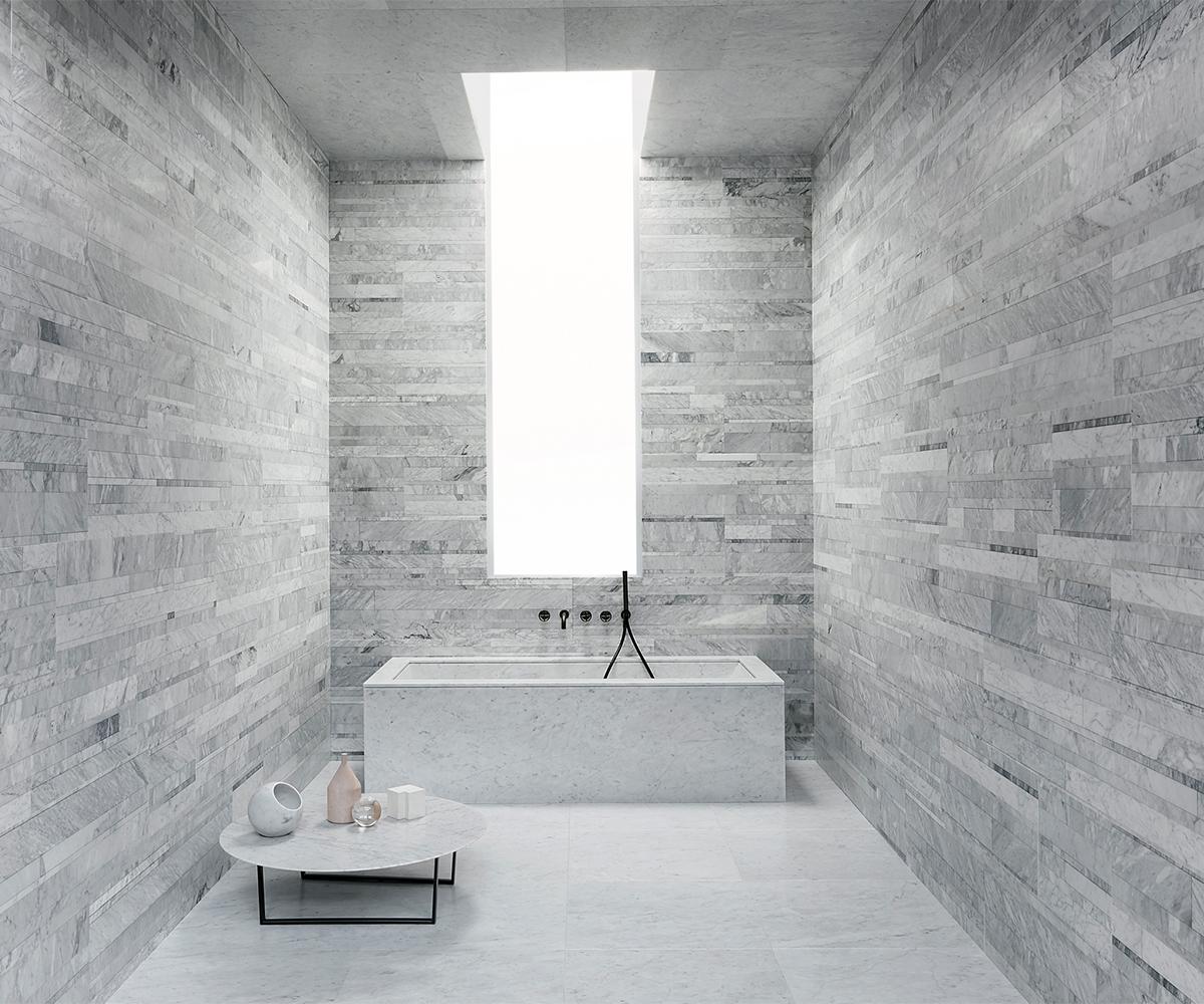 Exclusieve badkamertegels: mozaïek natuursteen en xl sjartec